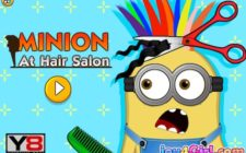 minion at hair salon